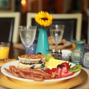 Blueberry pancake breakfast   Woodstock Inn B&B